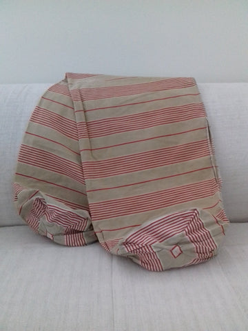 Antique Bolster Cover Red/taupe Ticking - simplyfrenchvintage