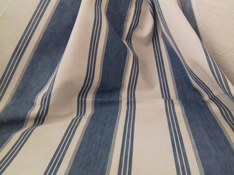 Antique French Blue Ticking Fabric - simplyfrenchvintage