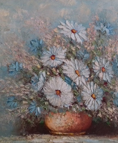 Daisies Flower Oil Painting - simplyfrenchvintage
