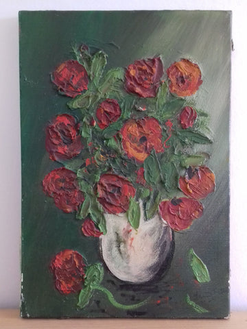 Red Anenomes Oil on Canvas - simplyfrenchvintage