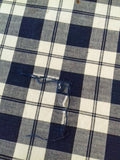 Vintage French Navy/Ivory Check Fabric - simplyfrenchvintage