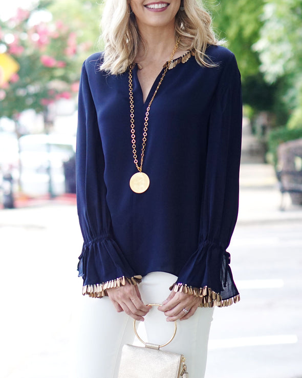 Juliette Sequin Trim Blouse - Midnight Blue