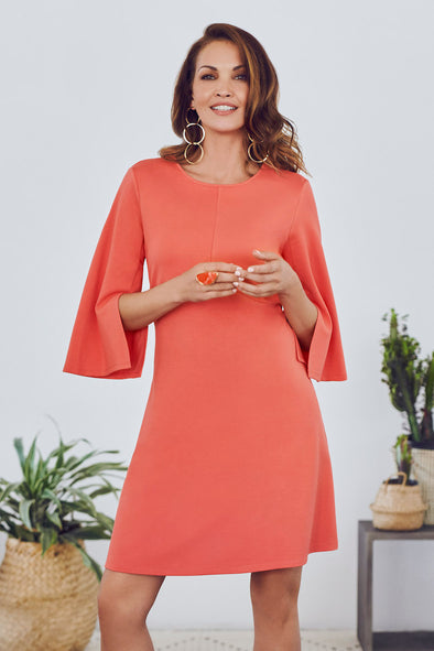 Jersey Knit Coral Dress