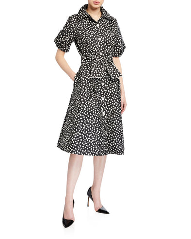 Polka Dot Puff Sleeve Belted Shirtdress