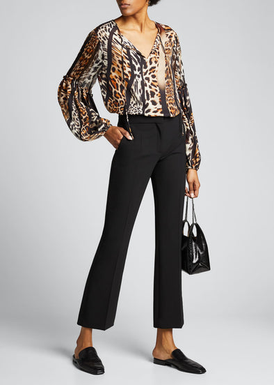 Fallon Animal Print Silk Blouse