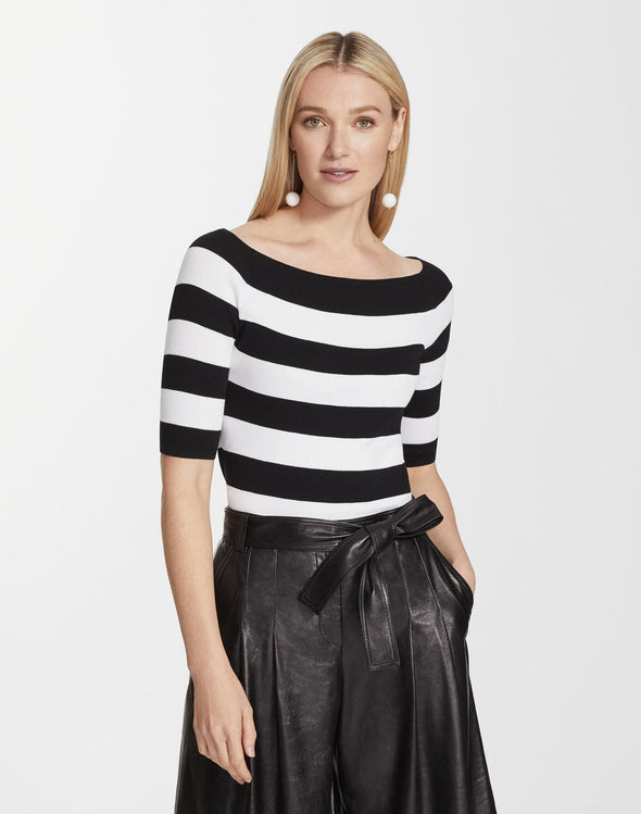 Crepe Yarn Striped Wide Bateau Neck Sweater