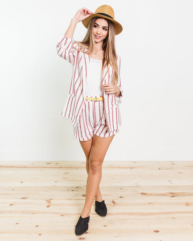 Dolly Stripe Linen Shorts | S-L