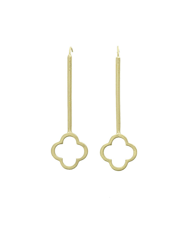 Della Threader Earring with Quatrefoil End