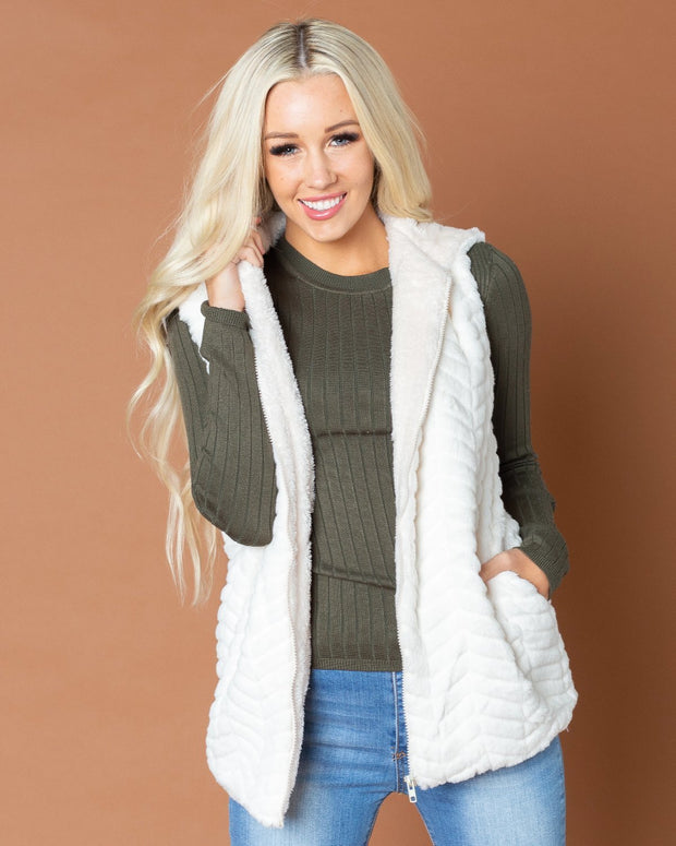 Bobbie Faux Fur Chevron Vest | One Size