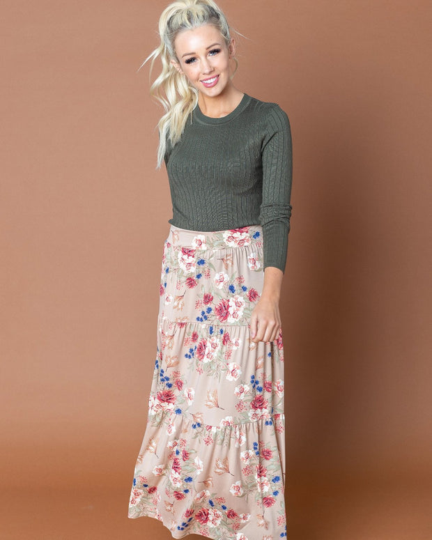 Savannah Floral Tiered Skirt | S-3XL