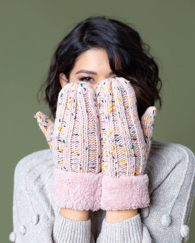 Angie Cable Confetti Knit Mittens | One Size