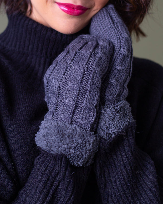 Mariah Cable Knit Fur Cuff Mittens | One Size