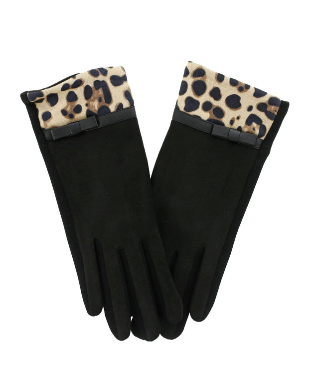 Marjorie Suede Leopard Trim Gloves | One Size