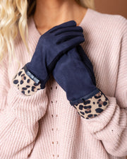 Betty Leopard Trim Gloves | One Size