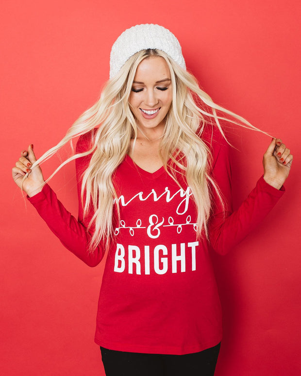 Merry and Bright Long Sleeve Graphic T-Shirt | XS-2XL