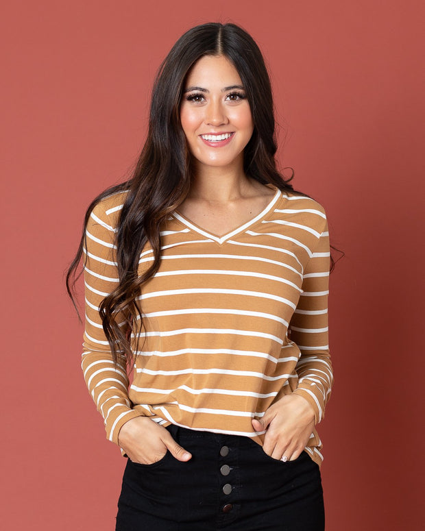 Lorraine Striped V-Neck T-Shirt | S-XL