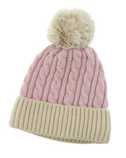 Jackie Two Tone Beanie with Pom Pom
