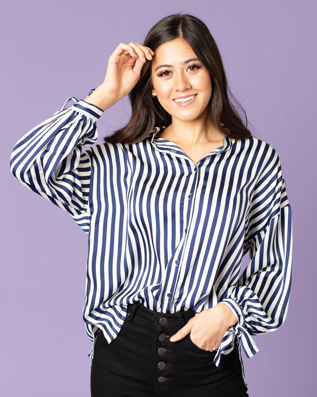 Rebel Striped Satin Button Down Top| S-L