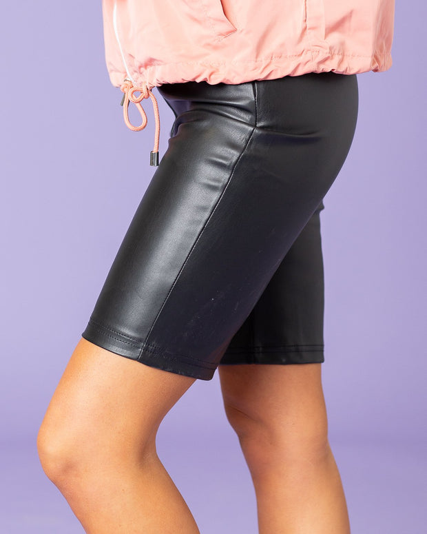 Angelica Faux Leather Bike Shorts | S-L