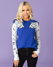 Rory Leopard Sleeve Sweater | S-L