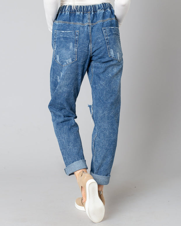 Bexley Drawstring Distressed Denim | S-2XL