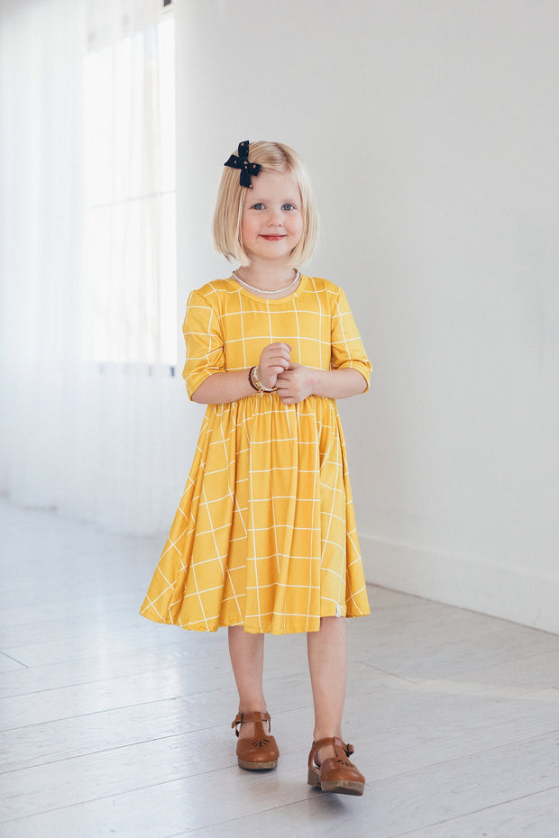 Mustard Yellow Plaid Twirl Dress