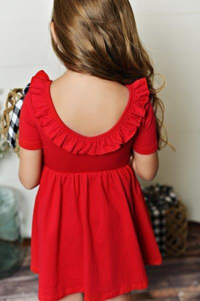 Red Ruffle Twirl Dress
