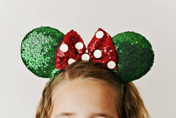 Green & Red Polka Dot Ear