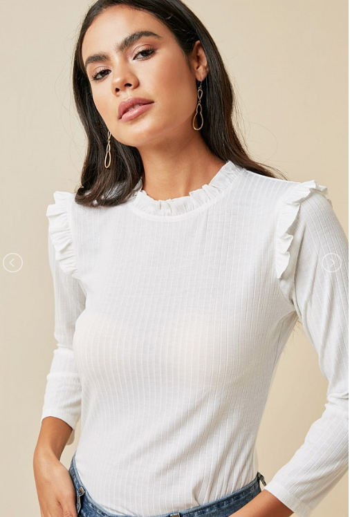 Everly Ruffle Mock Neck Top