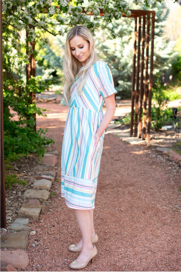 CLEARANCE Spring Striped Midi Dress | S