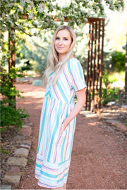 Spring Striped Midi Dress