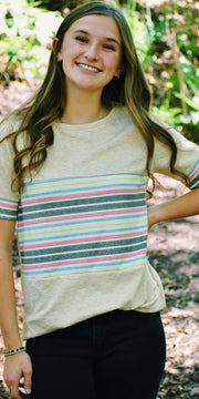 Amy Oatmeal Striped Tee
