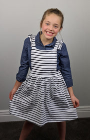 Ruffle Pinafore - Striped B&W