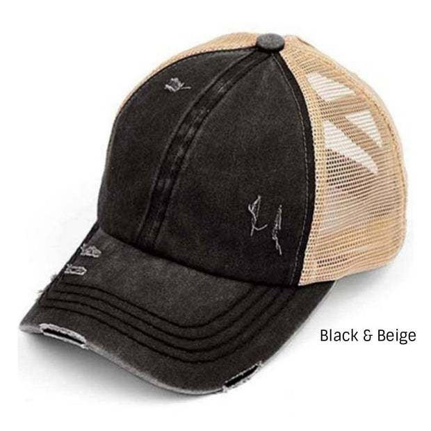 Distressed C.C® Criss-Cross Messy Bun Trucker Hat - 11 COLORS