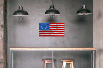 Red, silver, and blue laser-cut steel Betsy Ross American Flag wall art decor