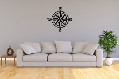 Black laser-cut steel metal compass rose wall decor