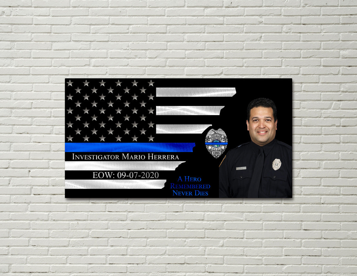 Investigator Mario Hererra of The Lincoln Police Department Memorial Thin Blue Line Flag