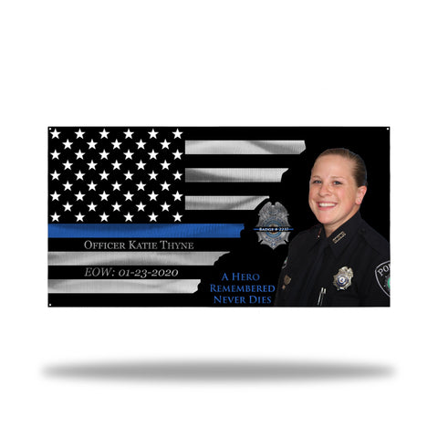Officer Katie Thyne- Newport News Police Department Memorial Thin Blue Line Flag