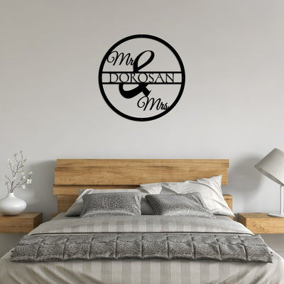 Black His and Hers, Mr. and Mrs. Circle Monogram metal wall art, home decor