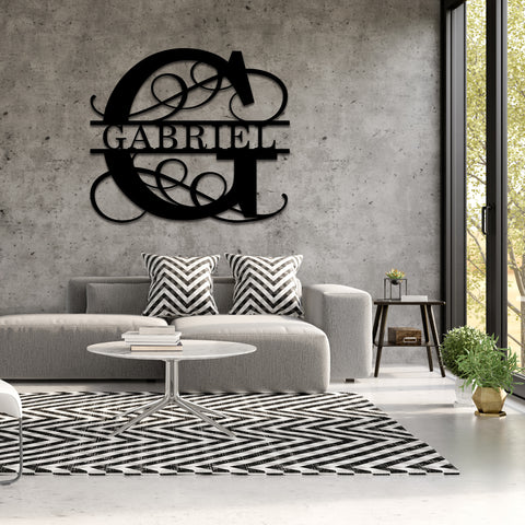 Elegant Split Letter Monogram - Metal Decor