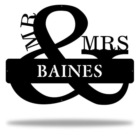 His and Hers, Mr. and Mrs. Monogram made of laser cut steel, metal marriage wall art decor