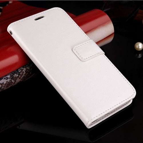 Luxury Leather Look Case For Huawei - White