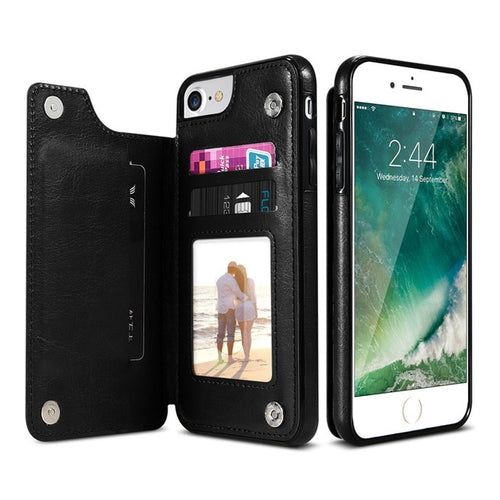 Leather Look Card Holding Case For iPhone - Black