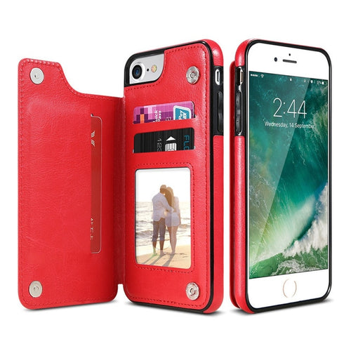 Leather Look Card Holding Case For iPhone - Red