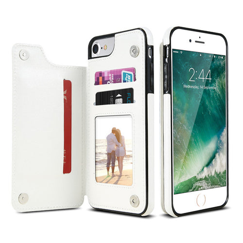Leather Look Card Holding Case For iPhone - White