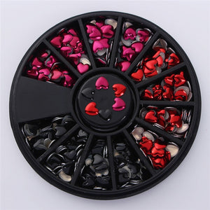 Nail 3D Art Mixed Colour Chameleon Stones Hearts Red N Black