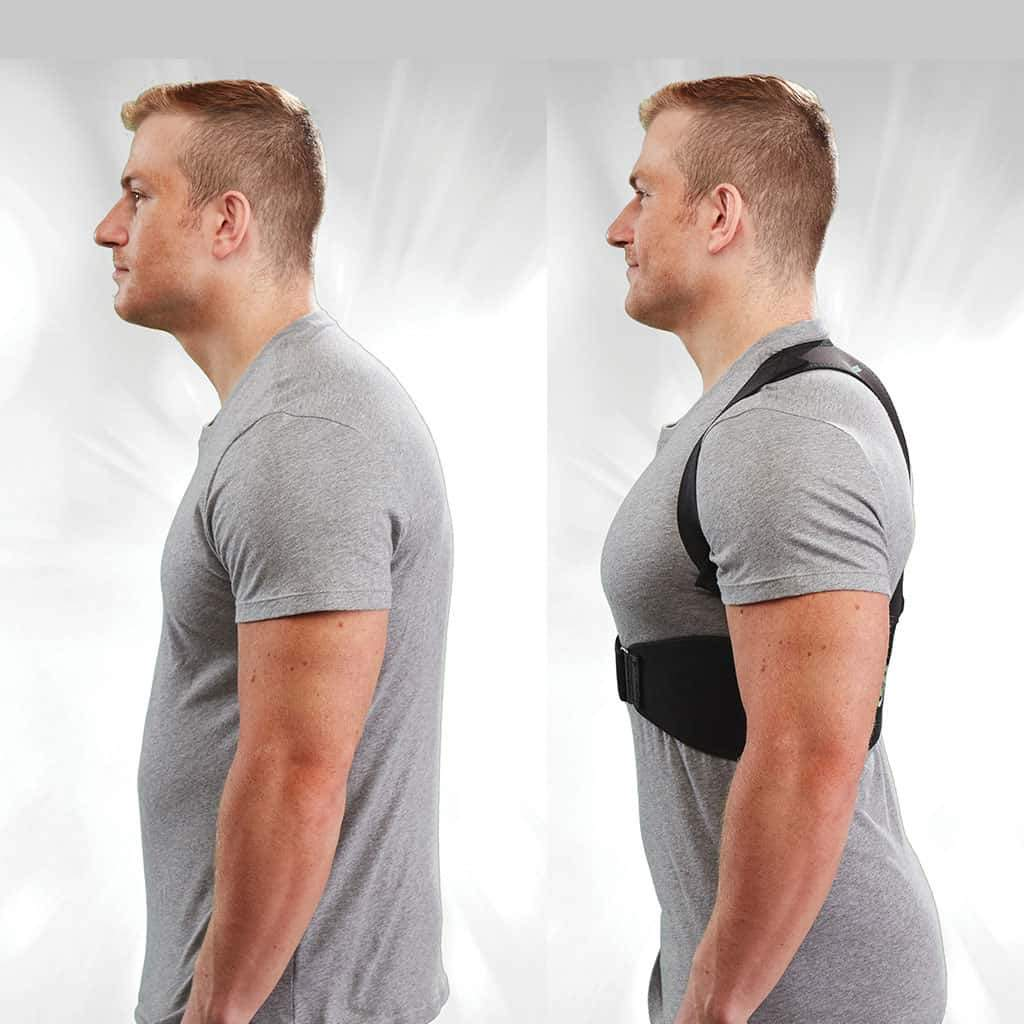 Two pictures side by side of man, in the photo on the left he is slouched a little and not wearing Hempvana Arrow Posture, in the photo on the right he is standing straight up and wearing Hempvana Arrow Posture