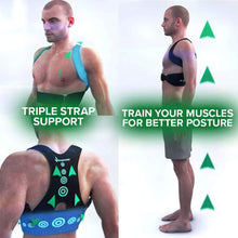 "Load image into Gallery viewer, 3 different photos of a man in no shirt and shorts wearing Hempvana Arrow Posture, one photo is him from the chest up, one photo his back is to the camera, one photo is a full body photo from the side with four green arrows behind him pointing up, includes the text ""Triple Strap Support"" and ""Train Your Muscles For Better Posture"""
