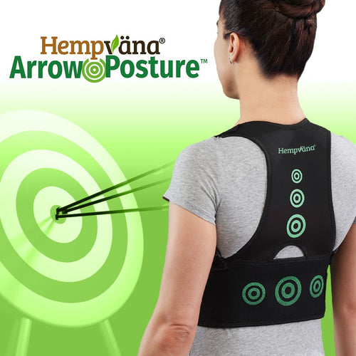 A woman with her back to the camera wearing a Hempvana Arrow Posture brace, brand logo with product name, a green background with a green target with arrows in it