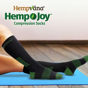 Pair of Hemp Joy Socks on person's legs